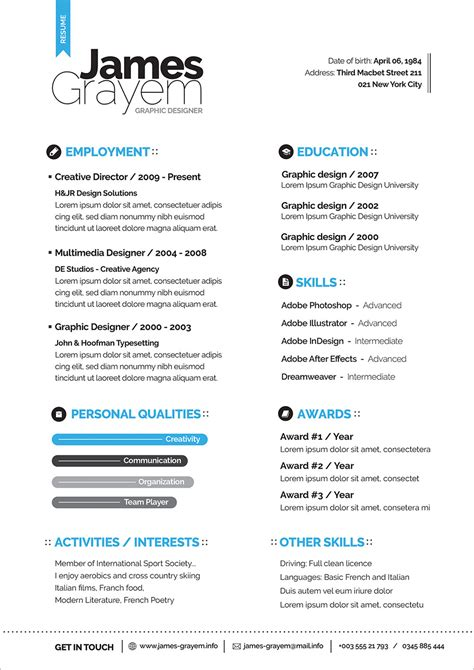 Free Professional Resume/ CV Template & Cover Letter For