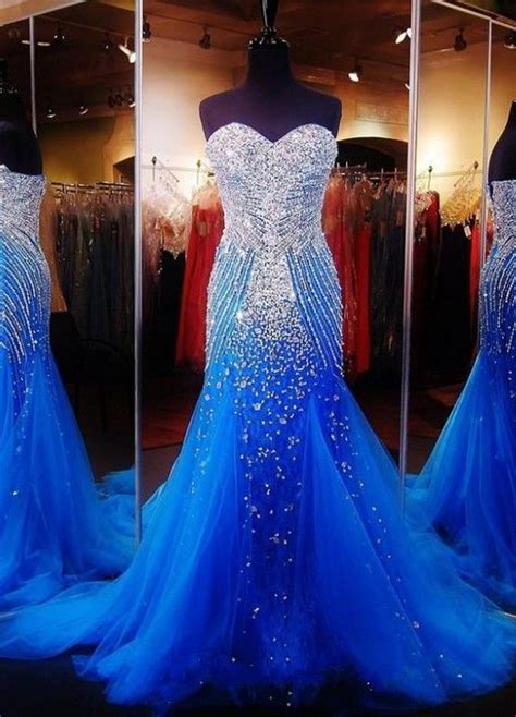 Blue & Silver Mermaid Tulle Gown With Sequins Pictures