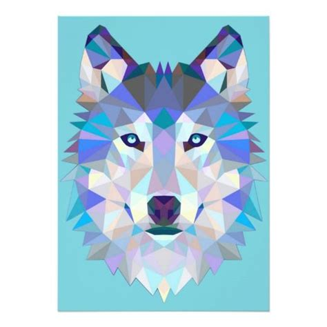 Polygon wolf - geometric wolf - abstract wolf invitation