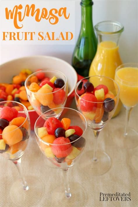 Mimosa Fruit Salad Recipe Drizzled in a Mimosa Syrup